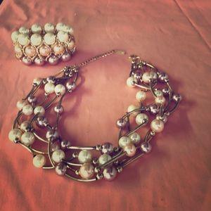 Tri color fashion jewelry set